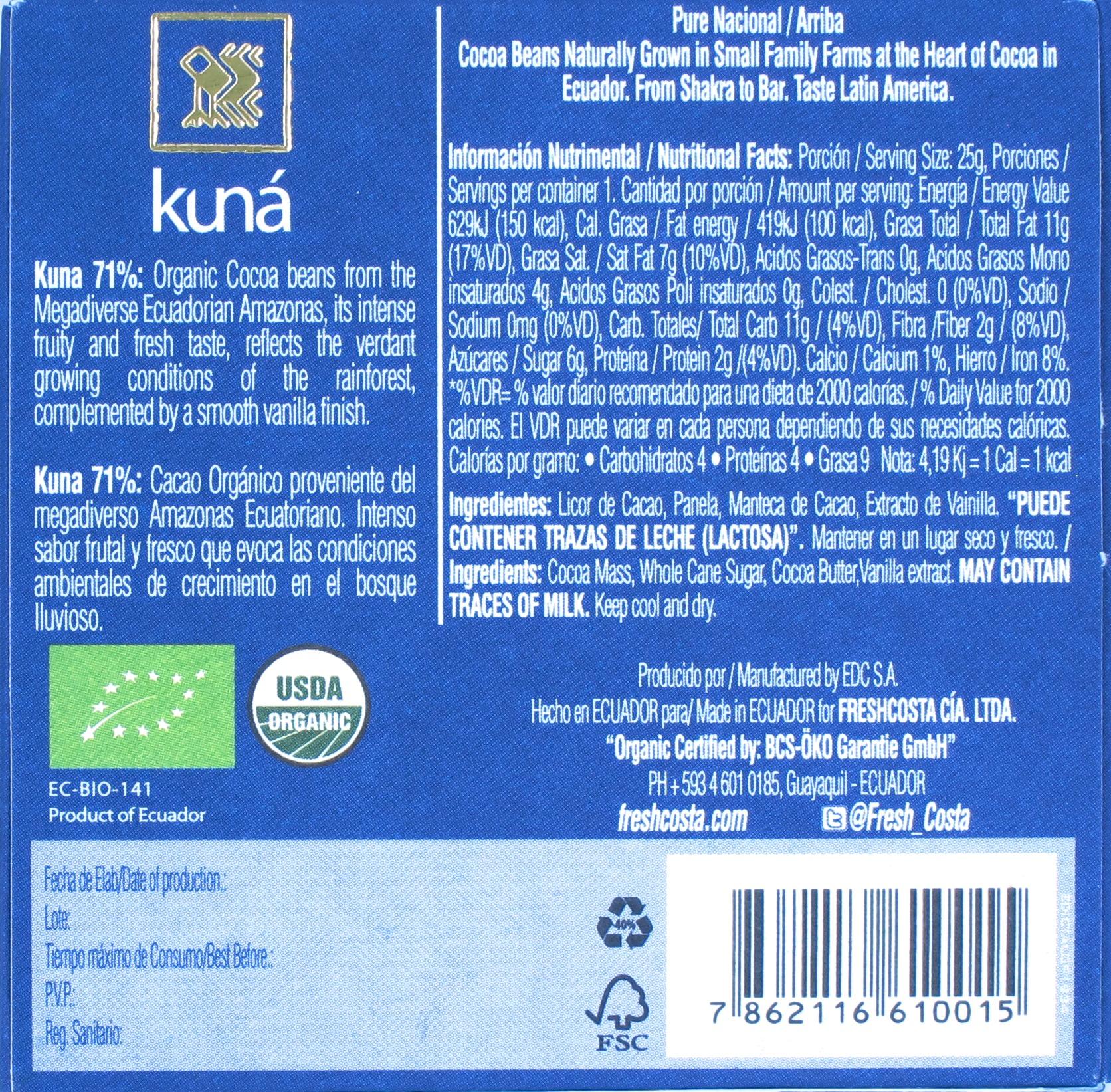 Kuna Ecuador-Schokolade 71%, Rückseite