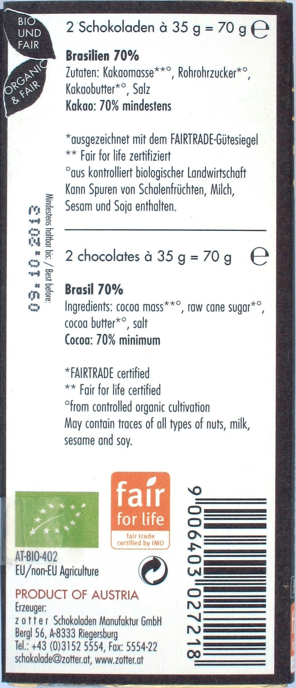 Verpackungsrückseite Zotter/Labooko-Schokolade Brasilien 70%