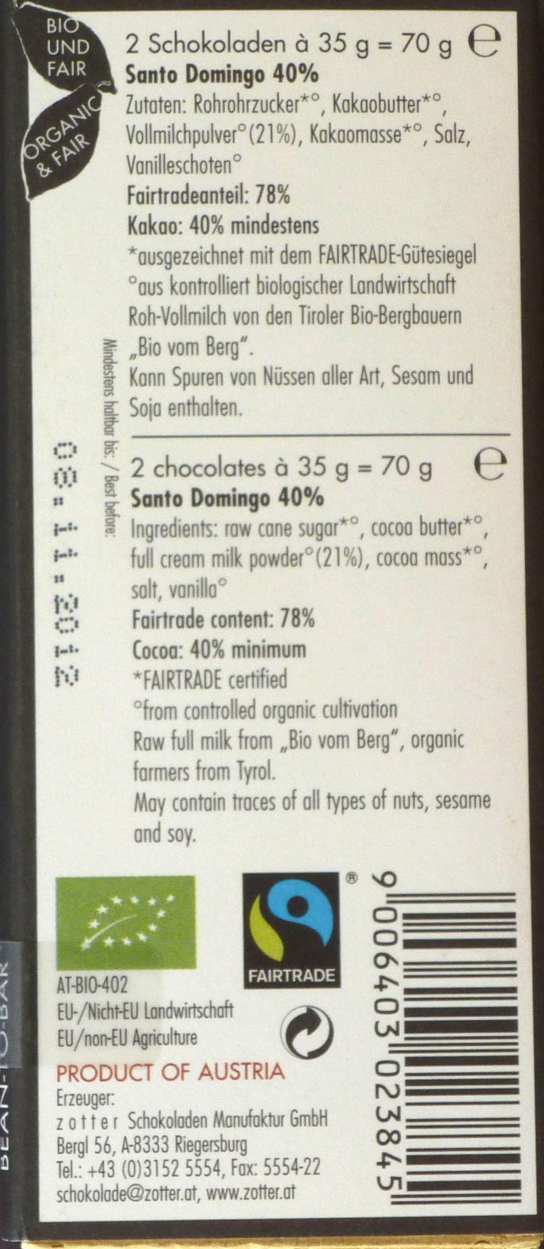 Rückseite einer Packung Labooko 40% Milchschokolade