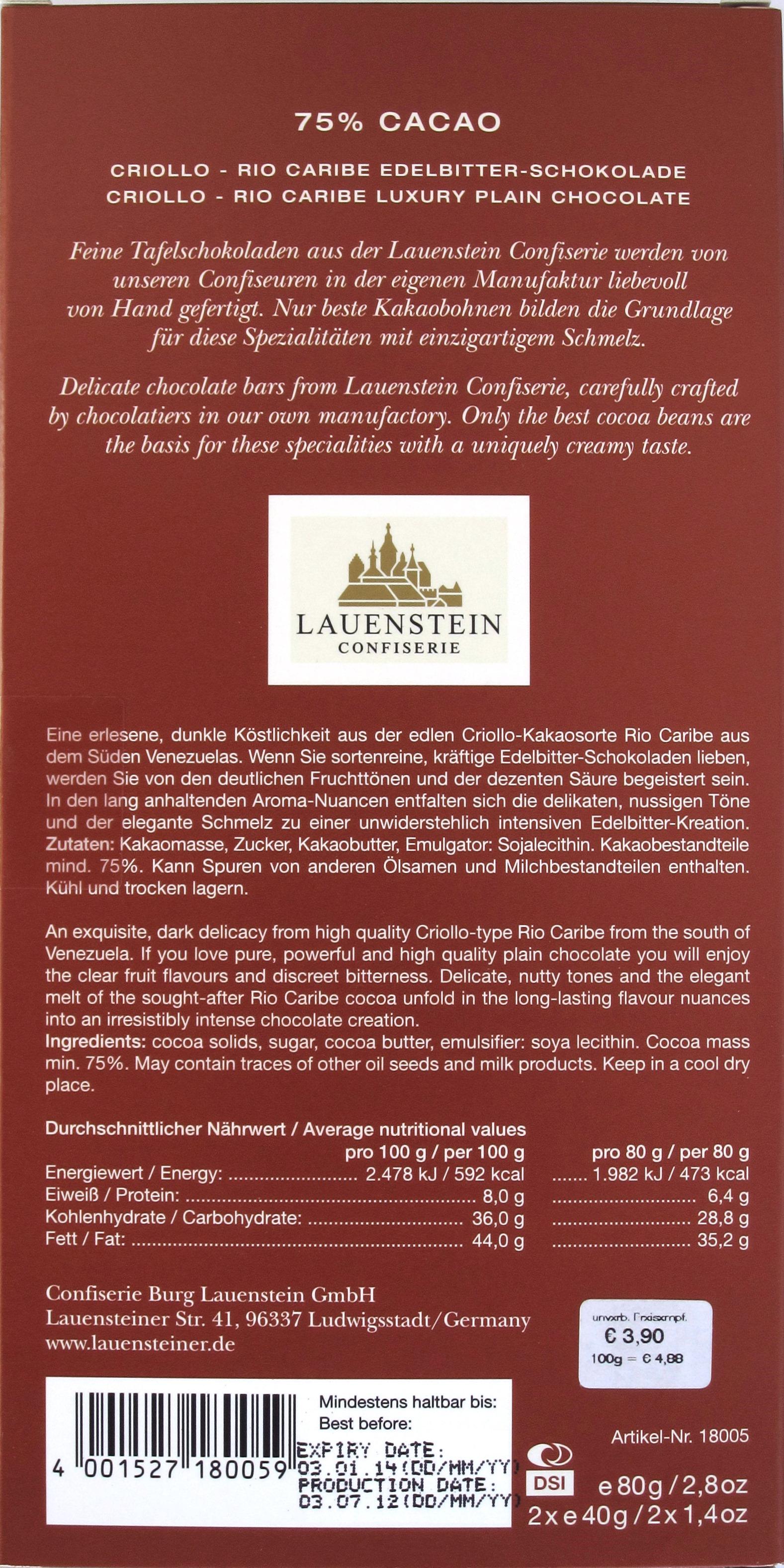 Lauenstein, 75% Rio Caribe, Venezuela-Schokolade, Rückseite