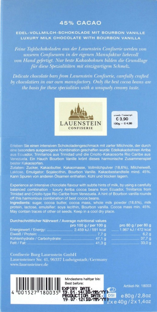 Lauenstein-Milchschokolade 45%, Rückseite