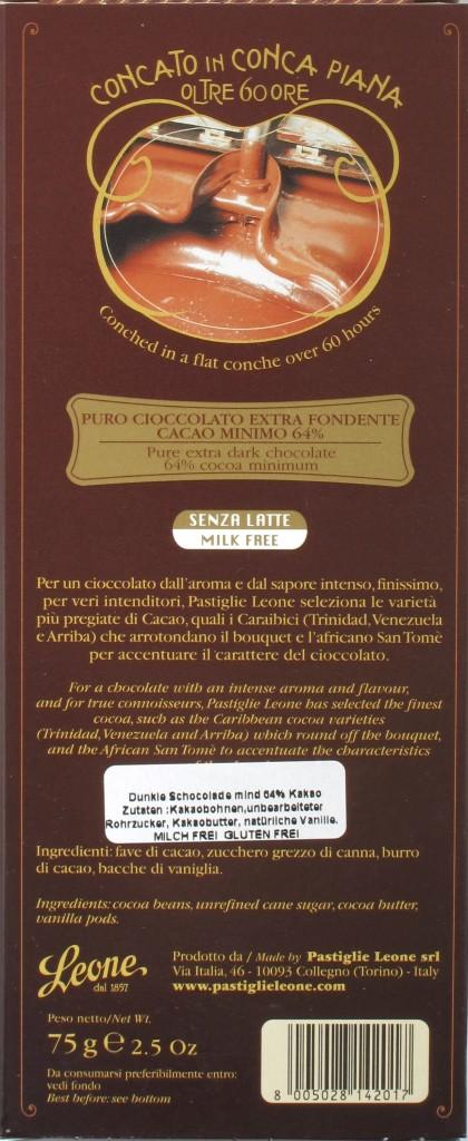 Pastiglie Leone Bitterschokolade 64%, Rückseite