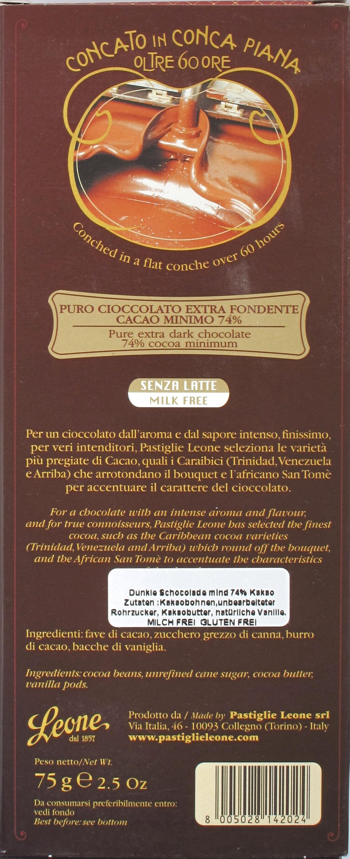 Pastiglie Leone Bitterschokolade 74%, Rückseite