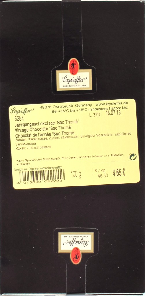 Leysieffer 2011-Jahrgangsschokolade, Rückseite