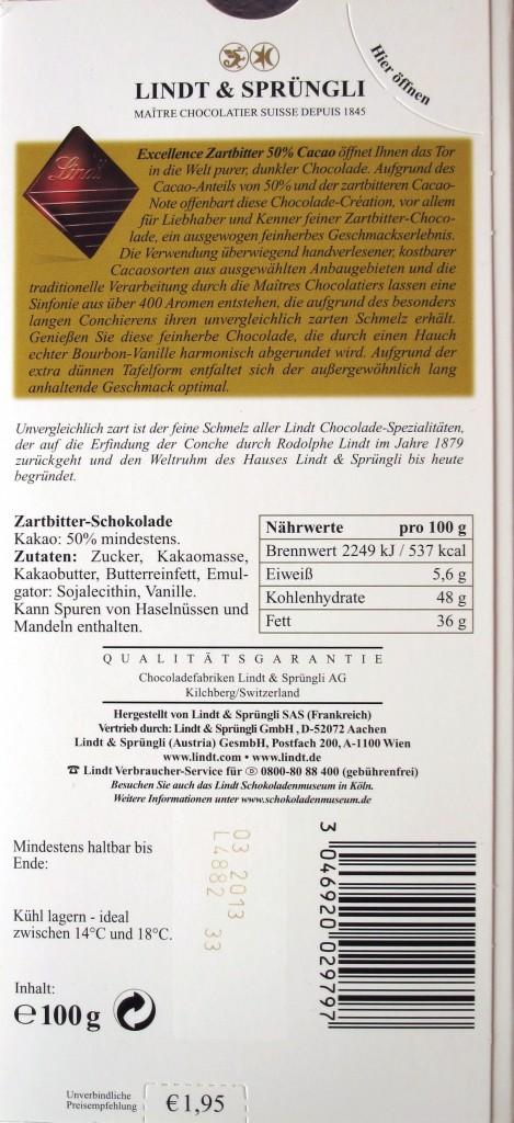 Lindt 50%-Schokolade - Inhaltsangaben