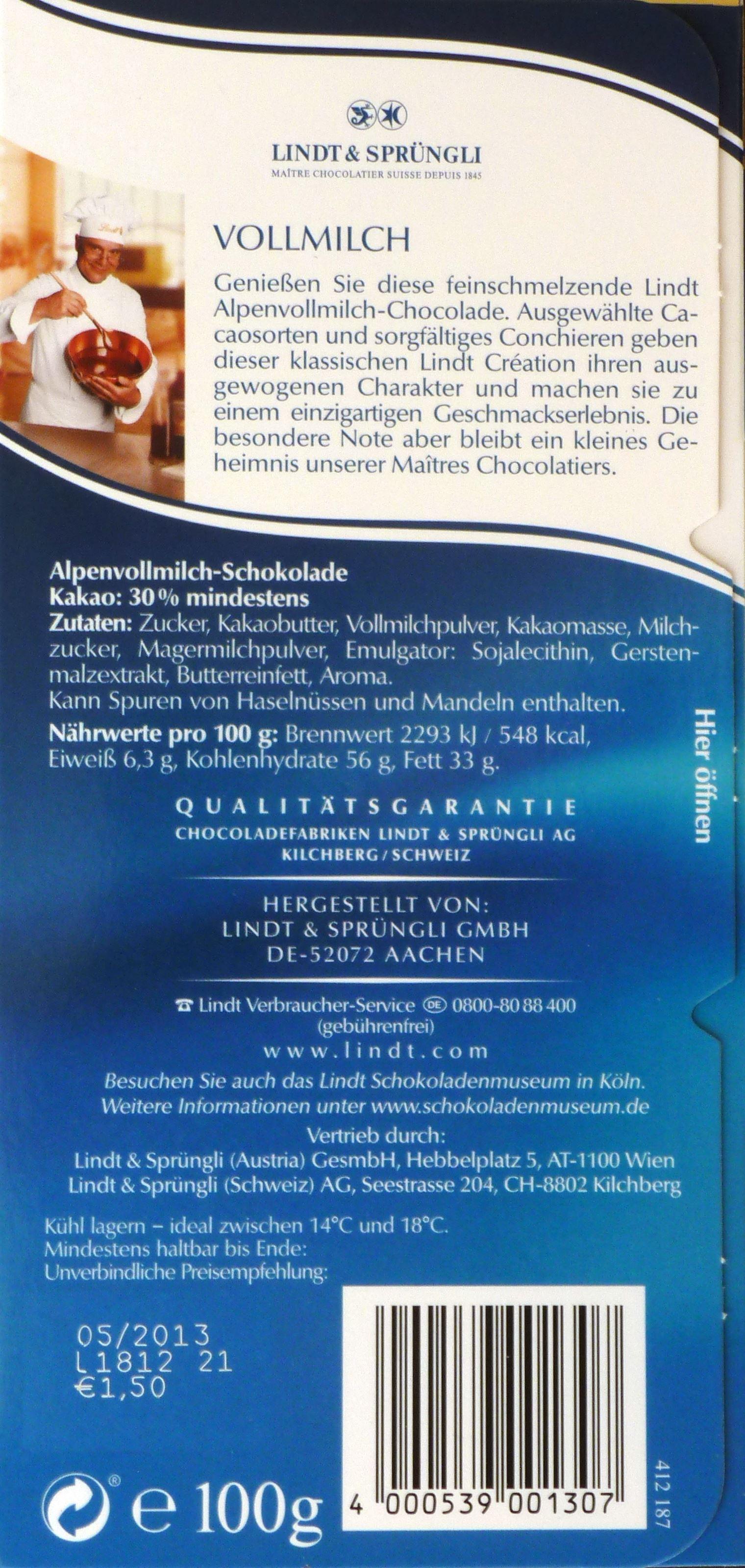 Lindt Vollmilchschokolade aus Alpenmilch - Inhaltsangaben