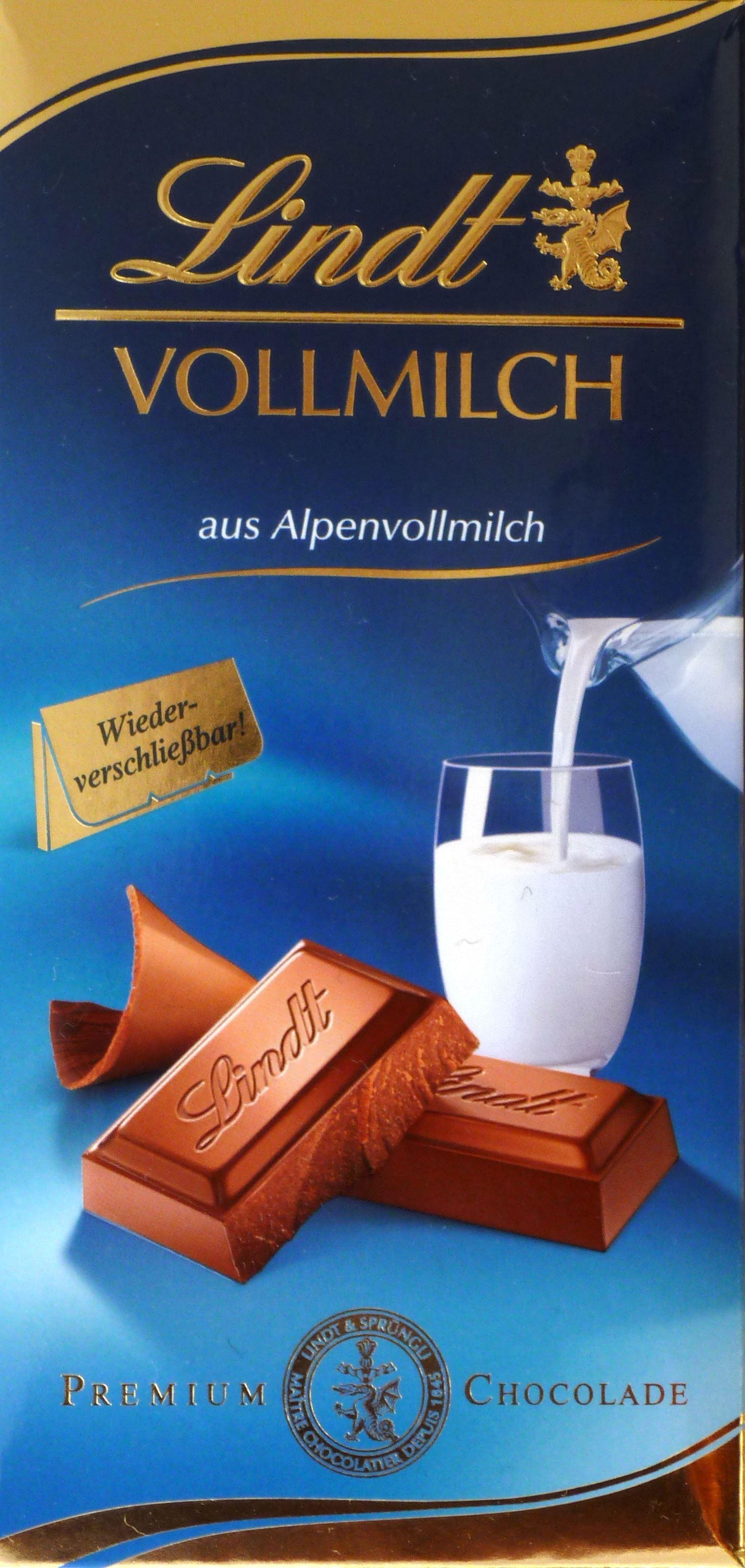 Lindt Vollmilchschokolade aus Alpenmilch