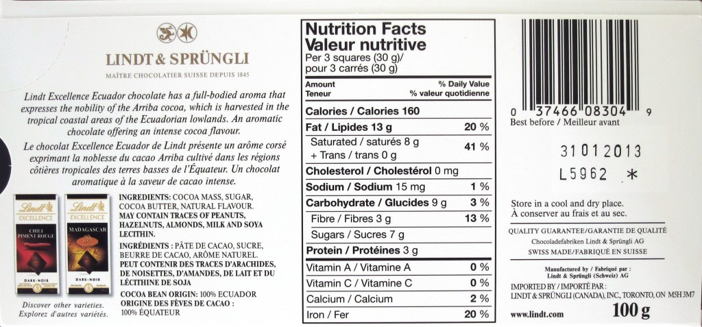 "Lindt ""Ecuador"", 75% - Ingredients"