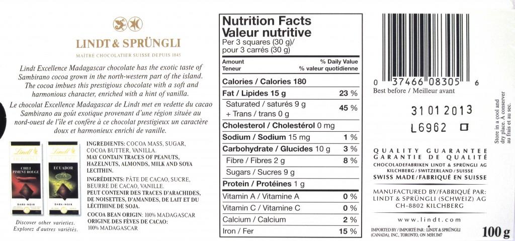 Lindt Madagascar, 65% - Ingredients