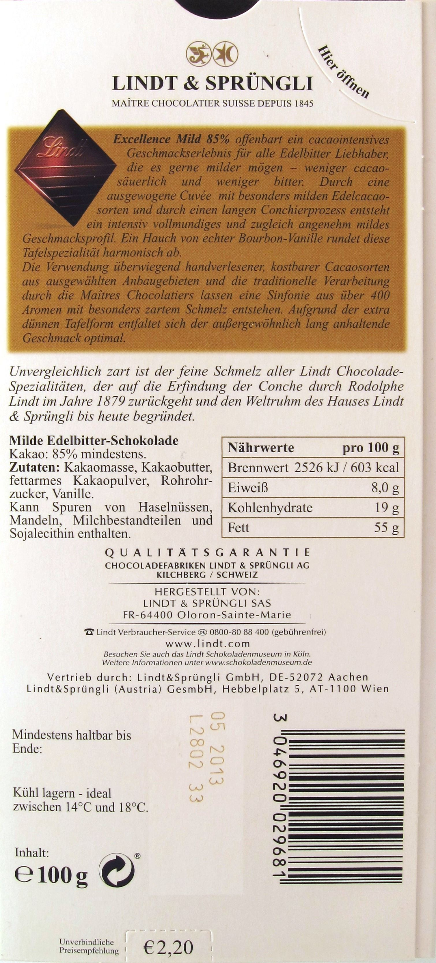 Lindt Bitterschokolade 85%, mild (Packungsrückseite)