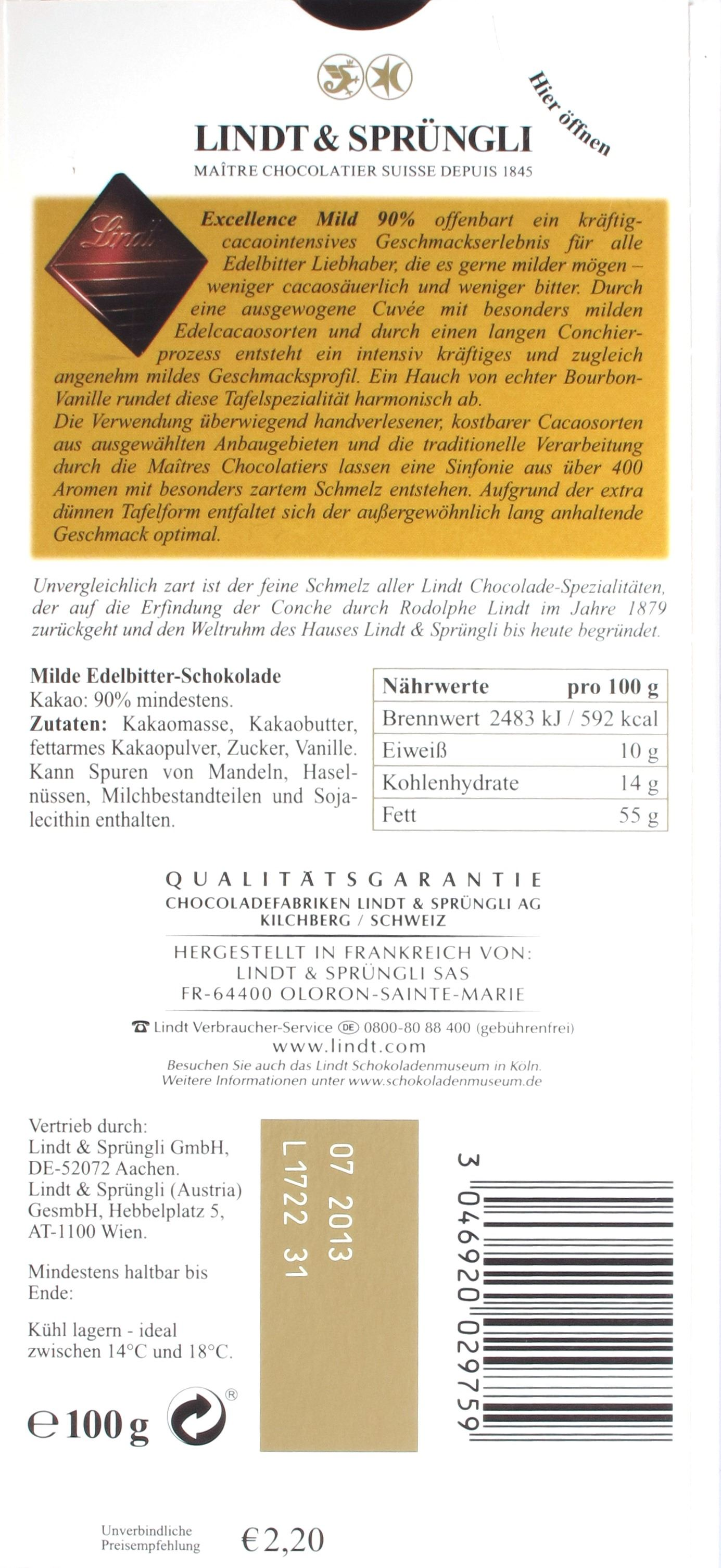 Lindt Excellence Edelbitter 90% Mild, Rückseite