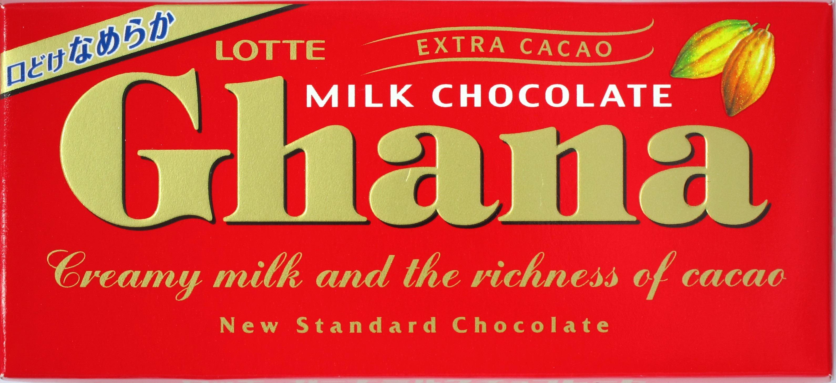 "Packung japanisch-koreanische Milchschokolade Lotte ""Ghana"""