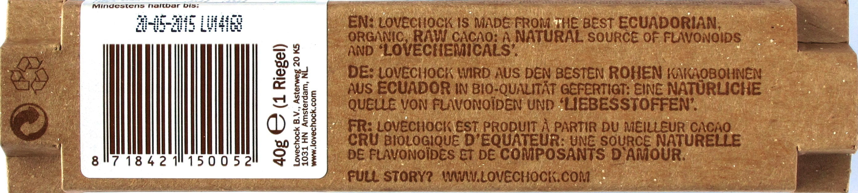 Lovechock 100% Raw Chocolate Kakaonibs, Rückseite