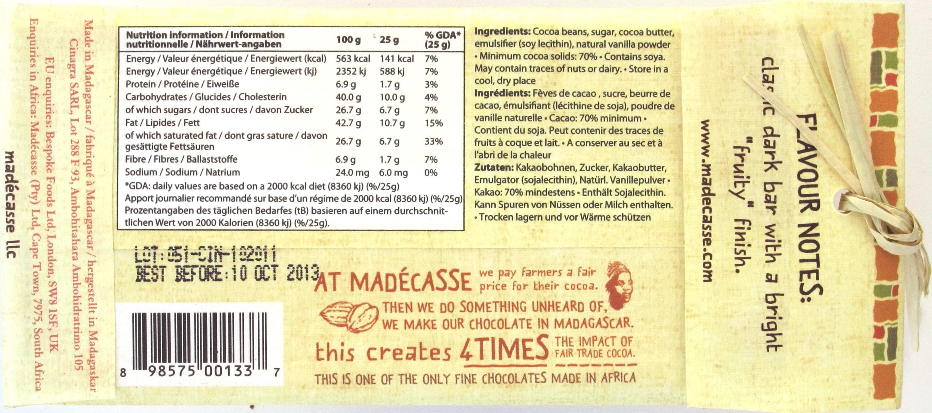 Rückseite, Madecasse, 70%-Dunkle Schokolade, Rich & Fruity