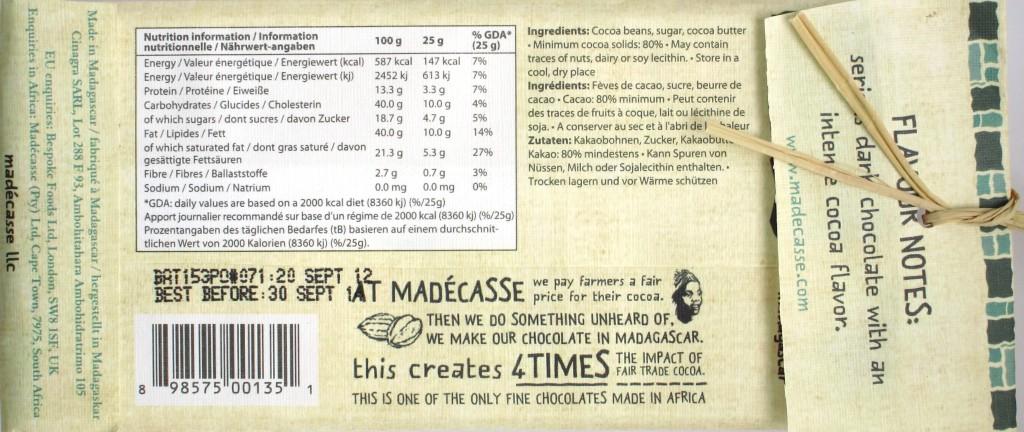 Rückseite, Madecasse-Schokoladentafel 80%
