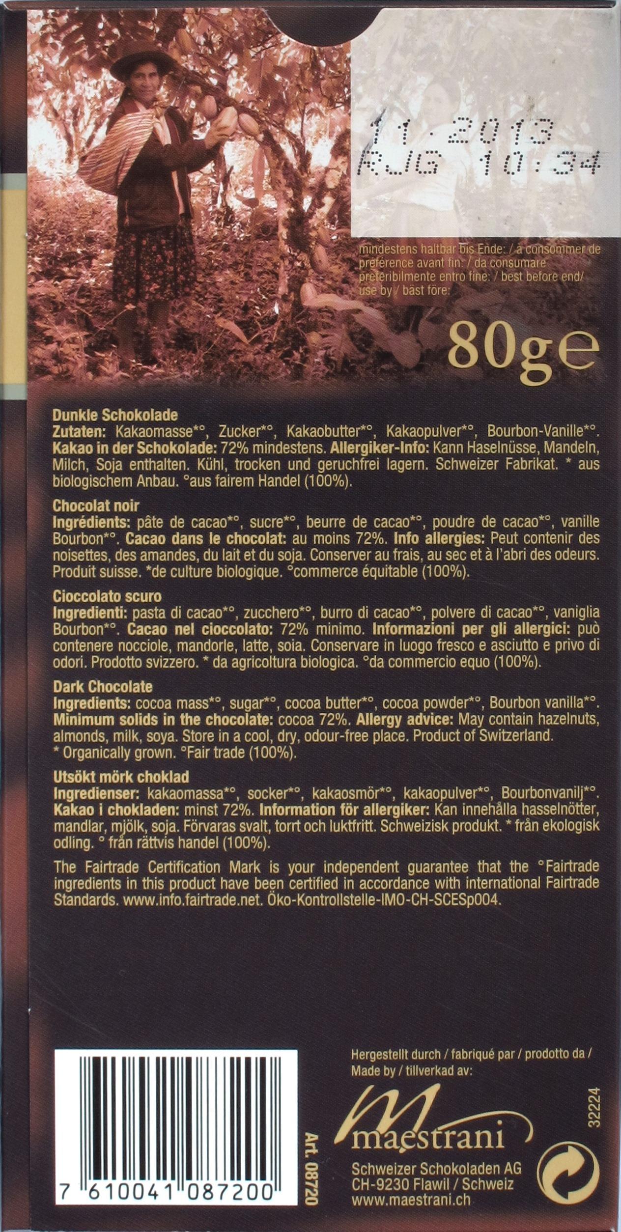 "Maestrani-Fairtrade- und Bio-Schokolade ""72% Cacao"": Rückseite"