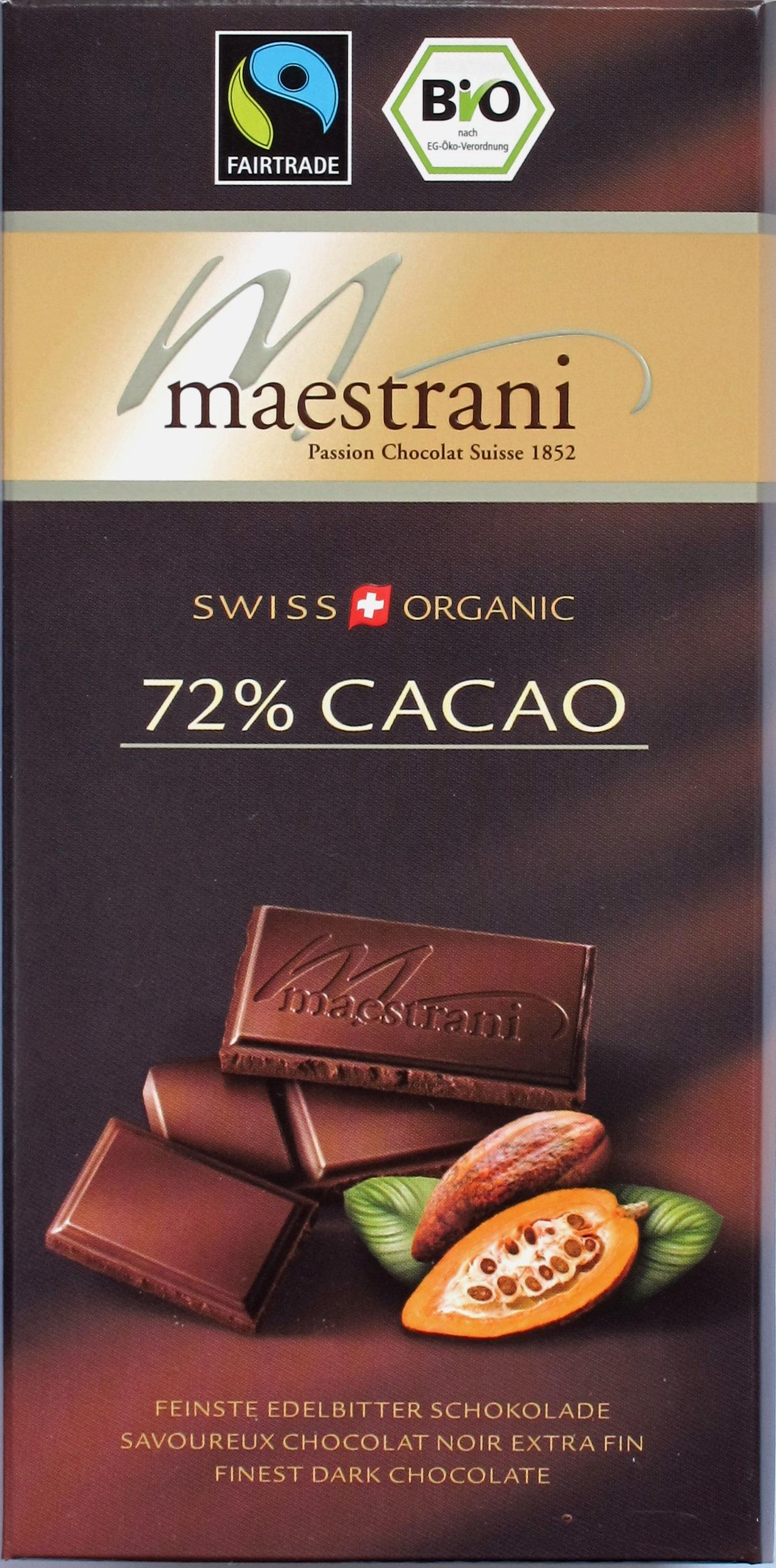 "Maestrani-Fairtrade- und Bio-Schokolade ""72% Cacao"""