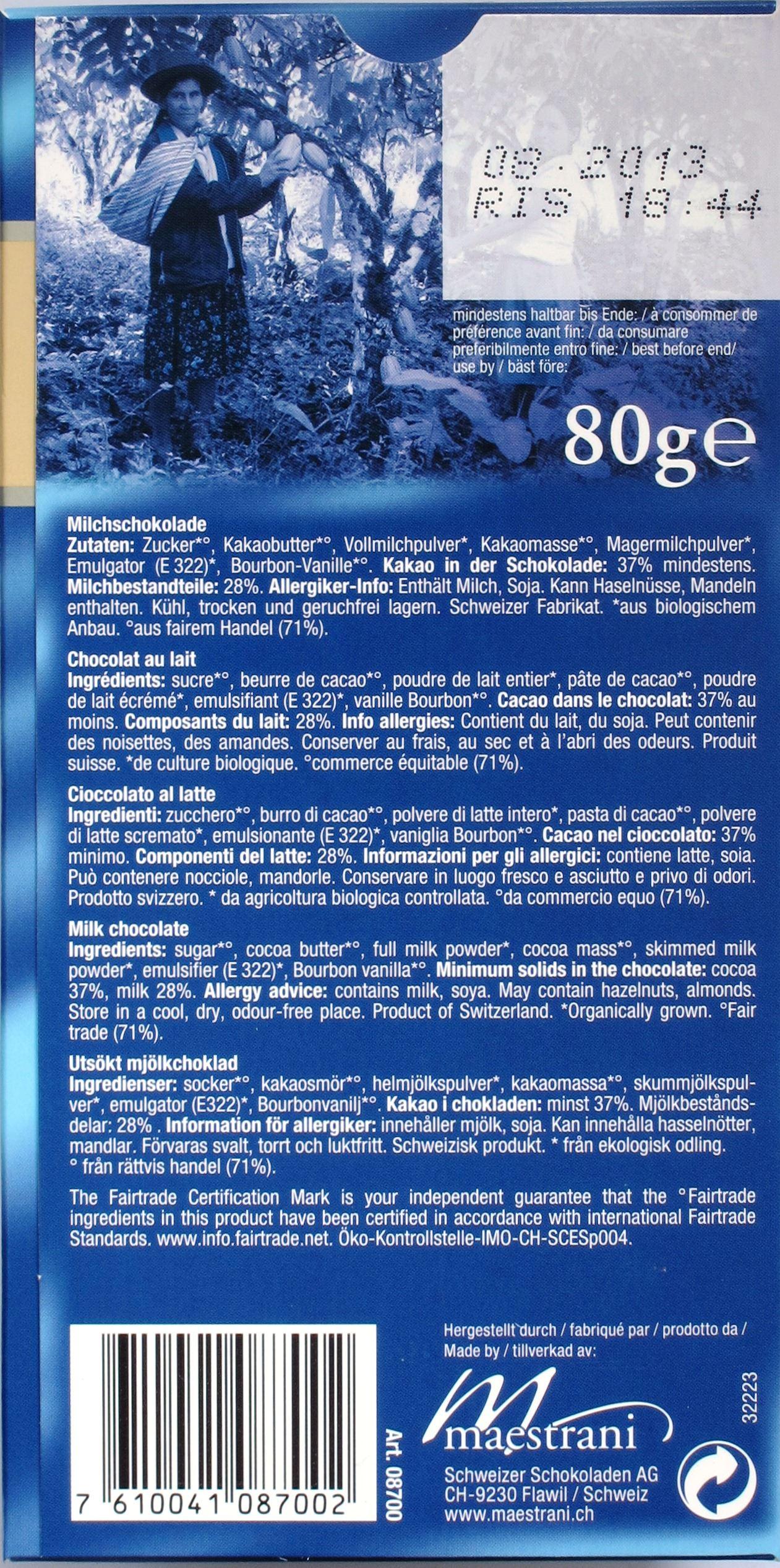 Maestrani Schweizer Bio-Vollmilchschokolade, Rückseite