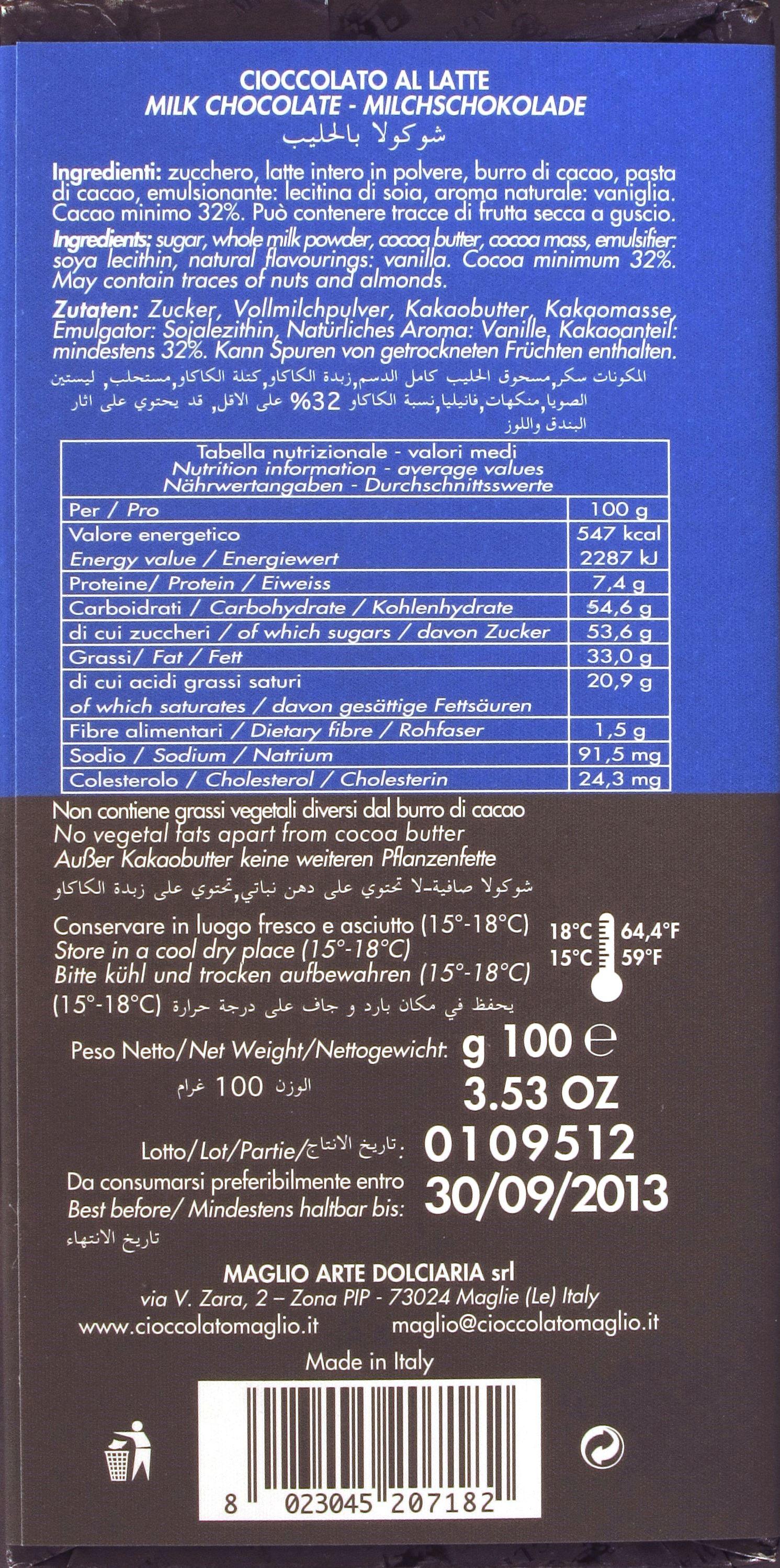 Maglio, Milchschokolade, Rückseite