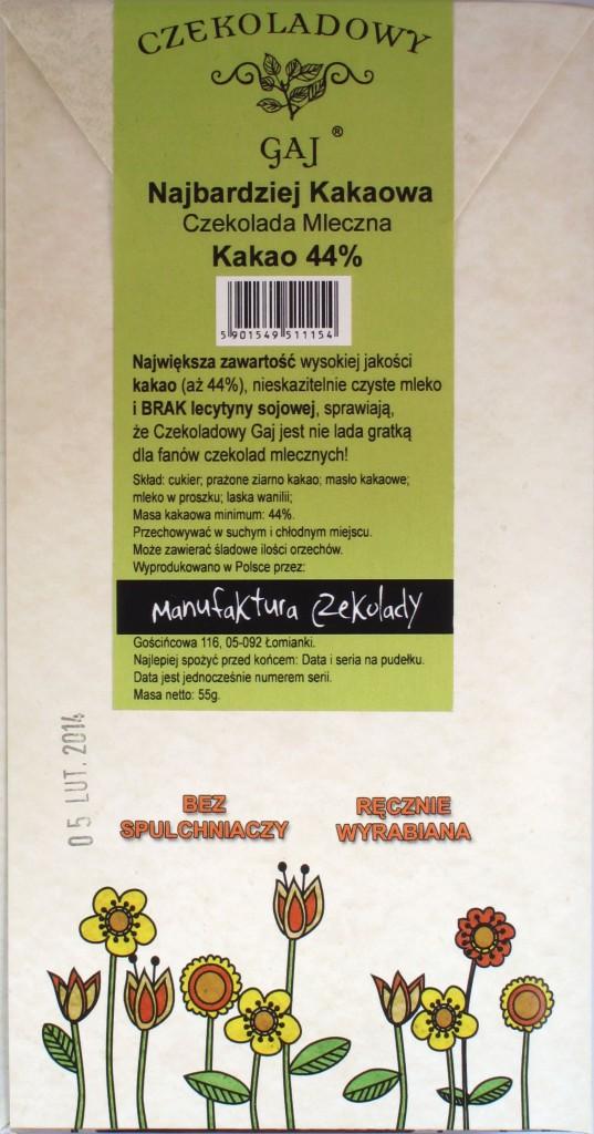 """Polnische Milchschokolade """"Czekoladowy Gaj"""" 44%, Rückseite"""
