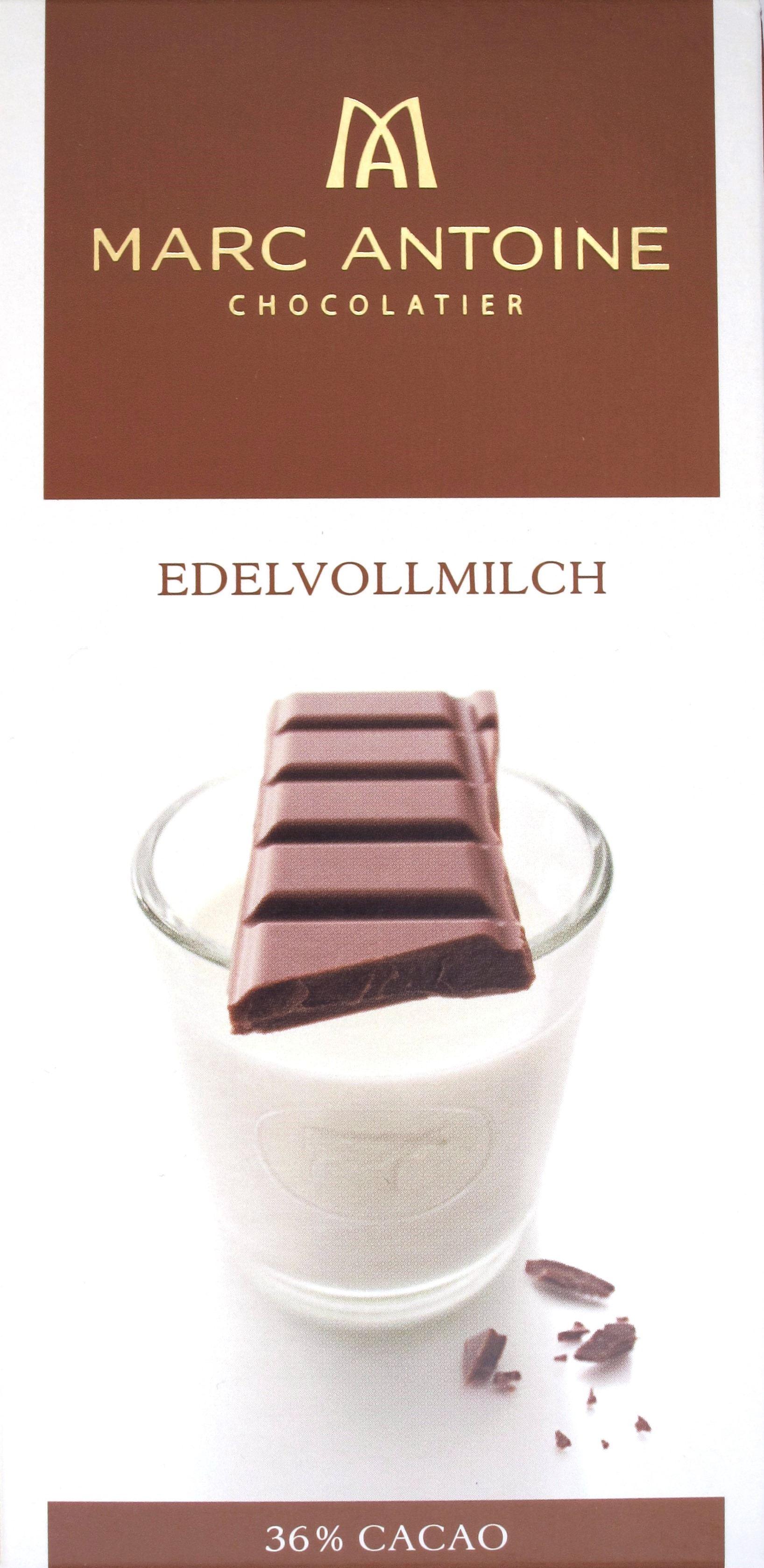 Vorderseite, Packung Marc Antoine Edelvollmilch