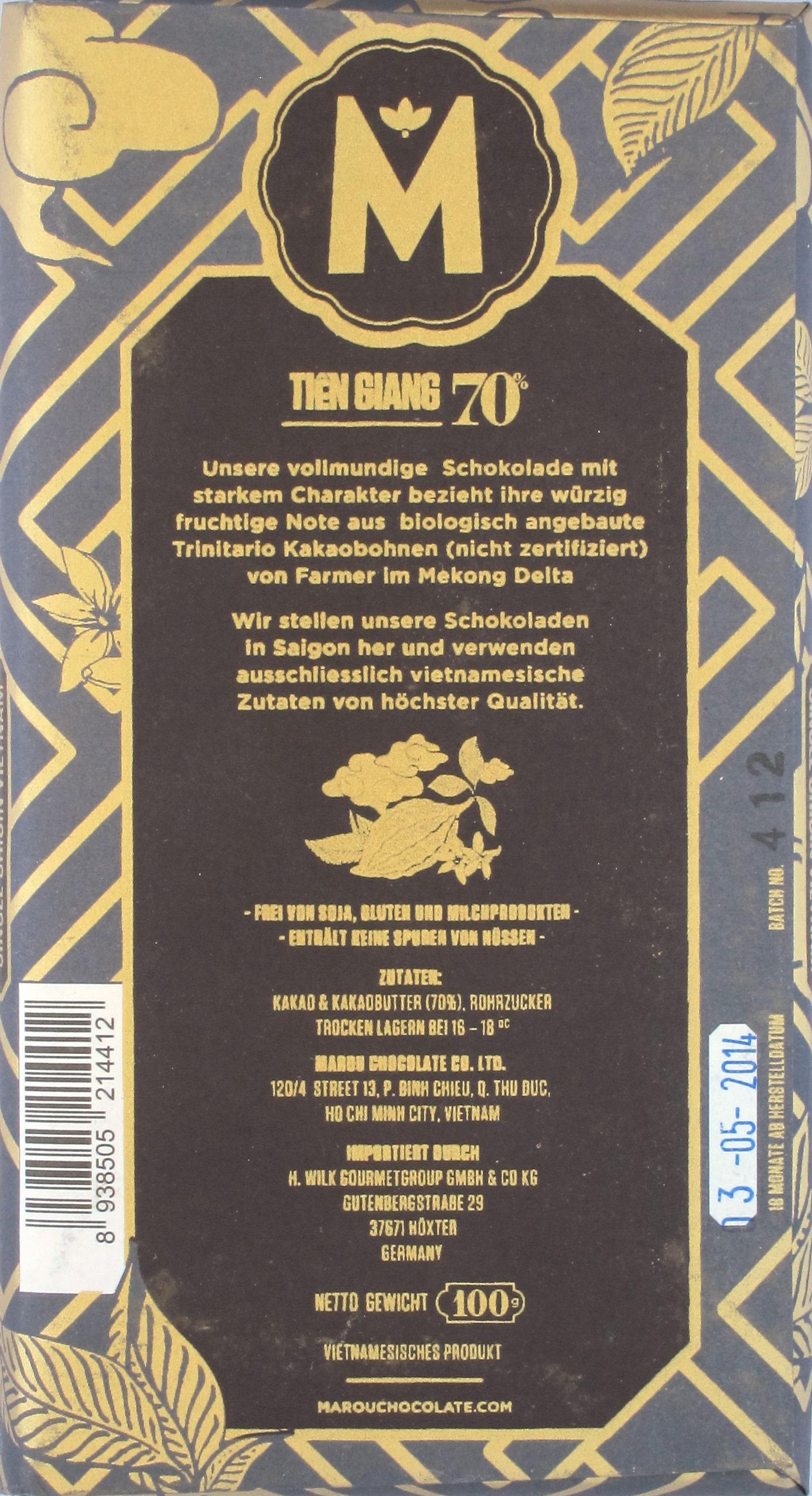 Vietnam-Schokolade Marou Tien Giang, 70%: Rückseite