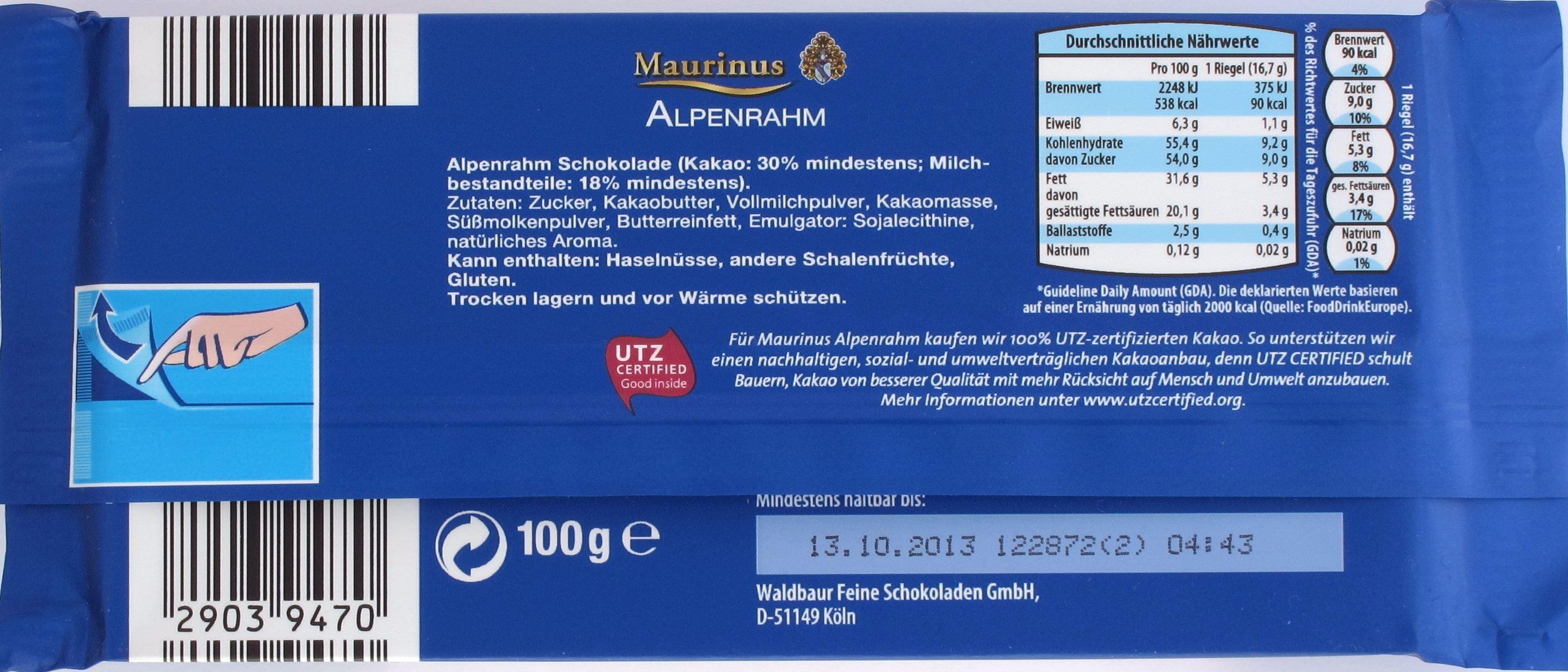 Zutatenliste: Vorderseite: Maurinus Alpenrahm-Schokolade