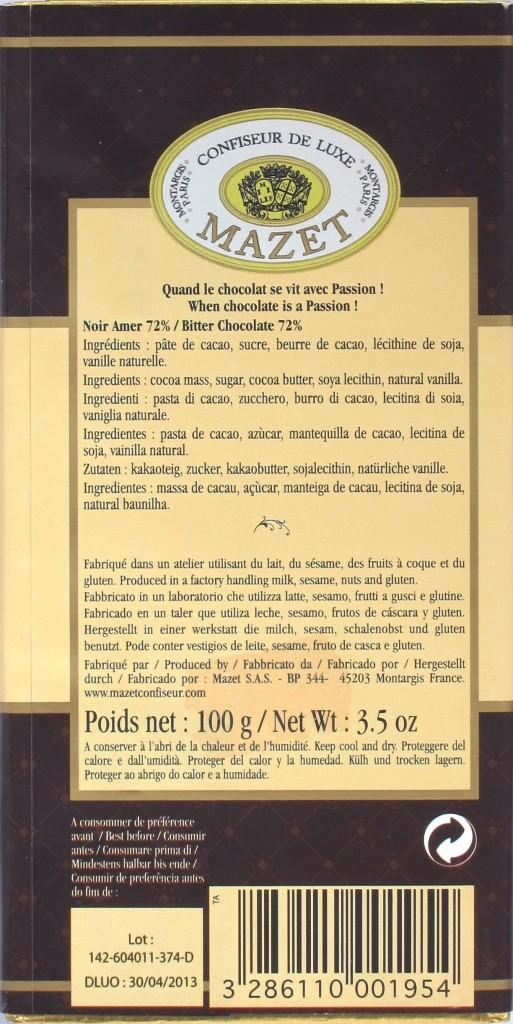 Mazet Noir Amer 72% Rückseite