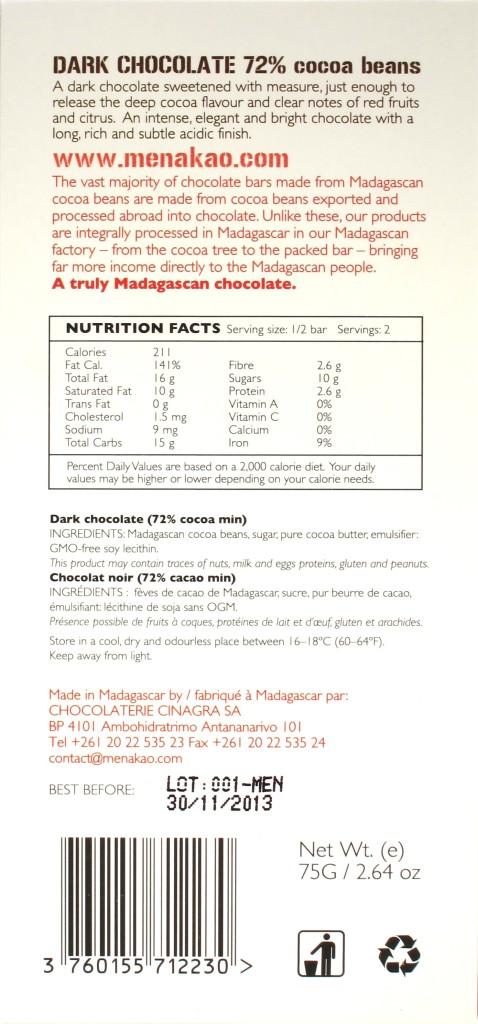 Menakao-Schokolade Madagaskar 72% - Rückseite