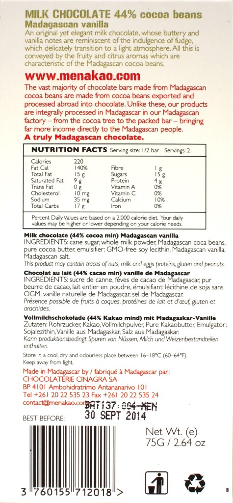 "Menakao-Milchschokolade 44% ""Madagascan Vanilla"", Rückseite"