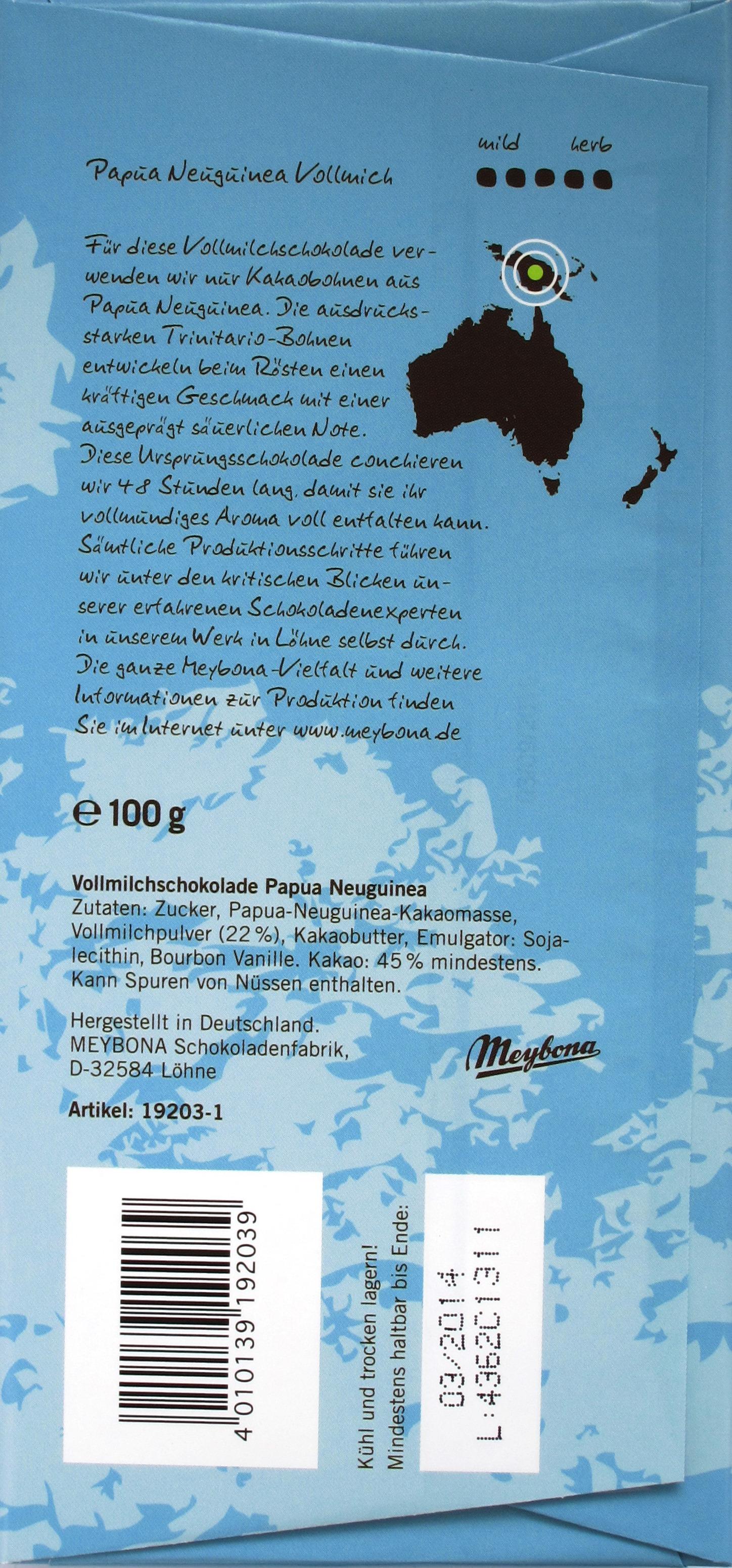 Meybona Papua Neuguinea Vollmilchschokolade, Rückseite