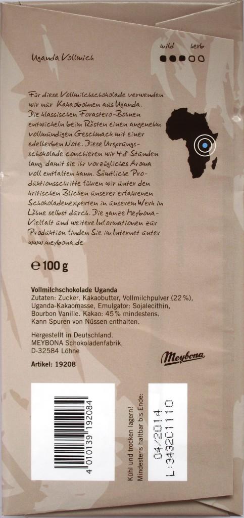 Meybona Uganda Milch 45%, Rückseite