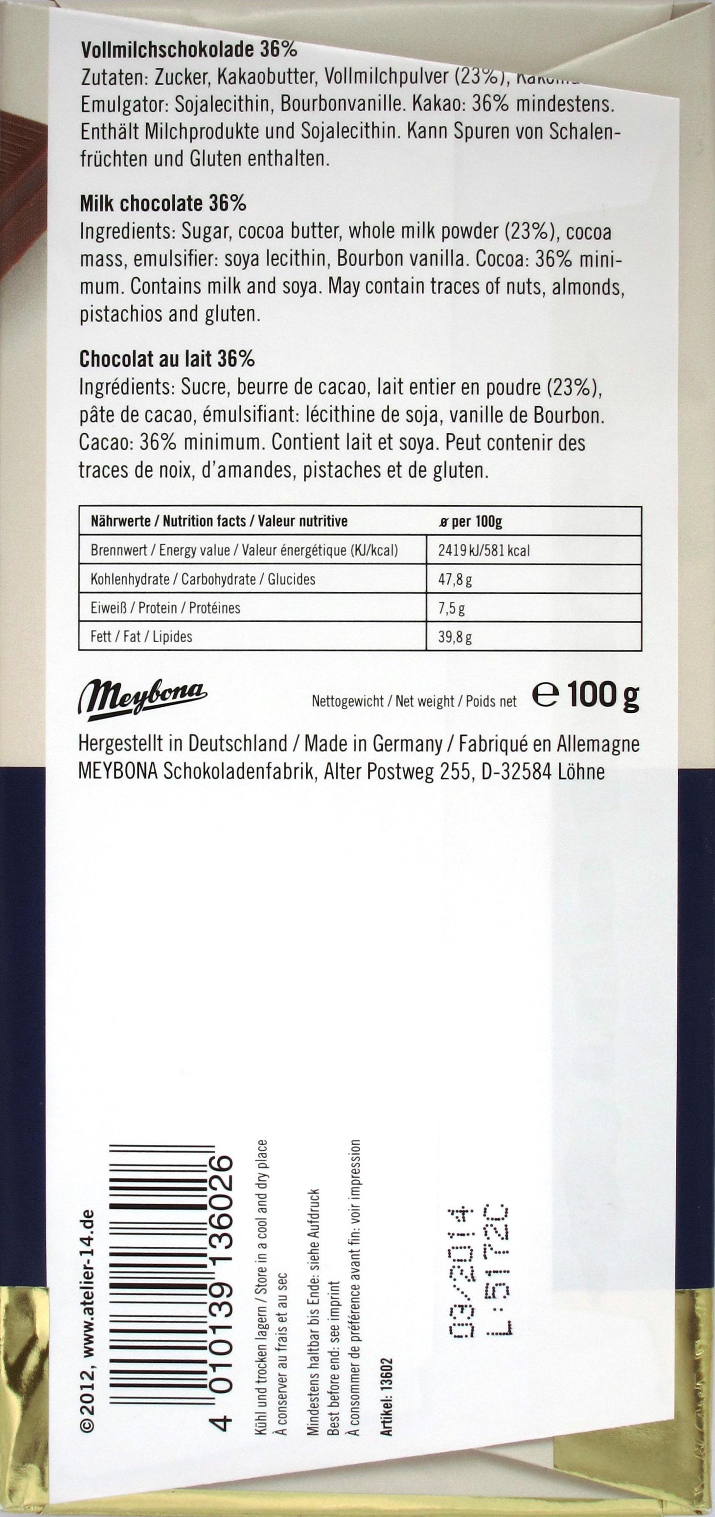 Meybona Vollmilch Schokolade 36% - Rückseite