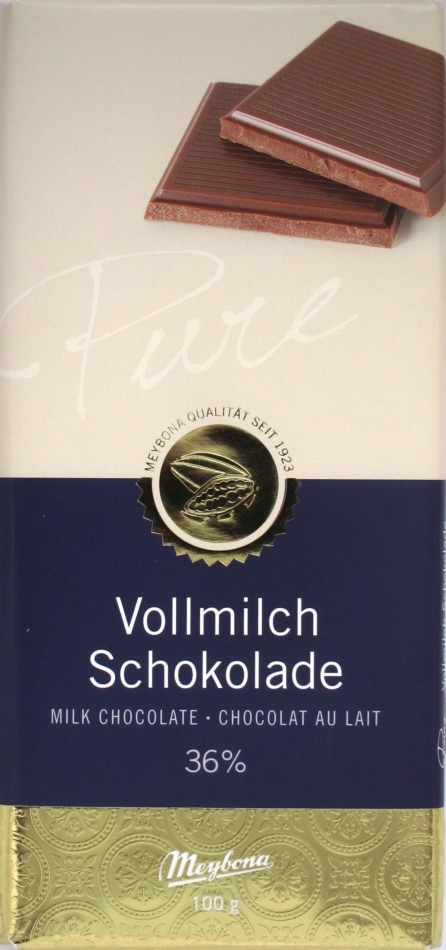 Meybona Vollmilch Schokolade 36% - Vorderseite