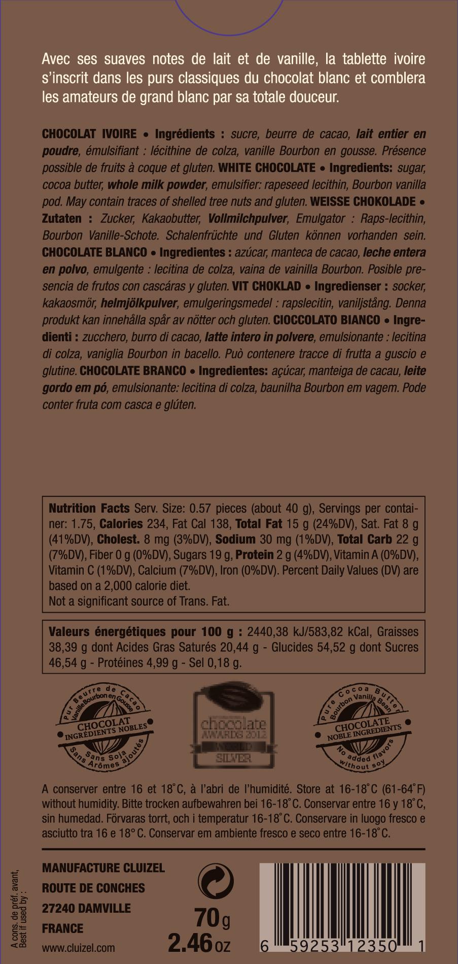 Michel Cluizel Weiße Schokolade - Rückseite