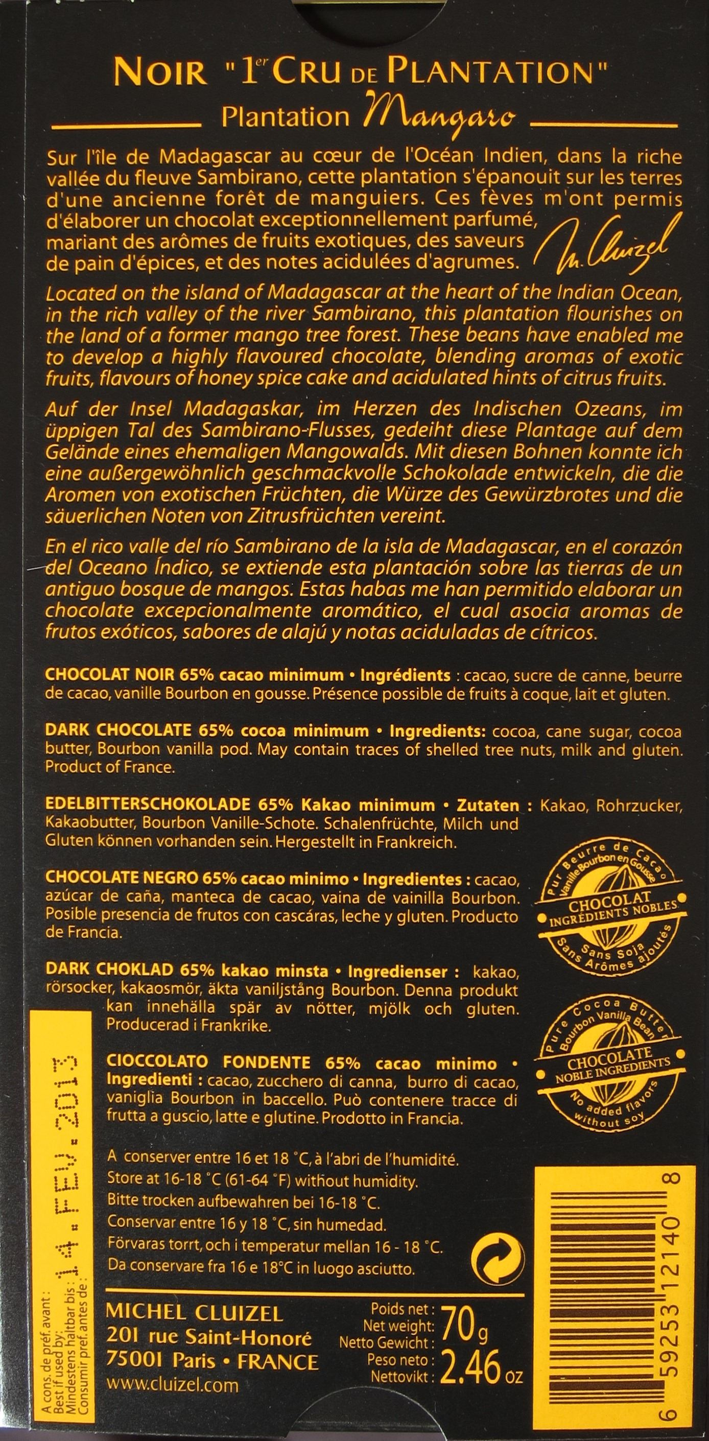 "Michel Cluizel ""Mangaro"" Edelbitterschokolade, 65% - Inhaltsangaben"