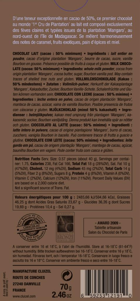 """Michel Cluizel """"Mangaro"""" Milchschokolade, 50% - Inhaltsangaben"""