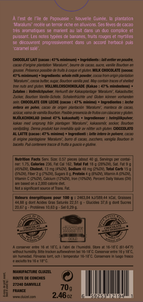 Michel Cluizel Maralumi Schokolade, Rückseite