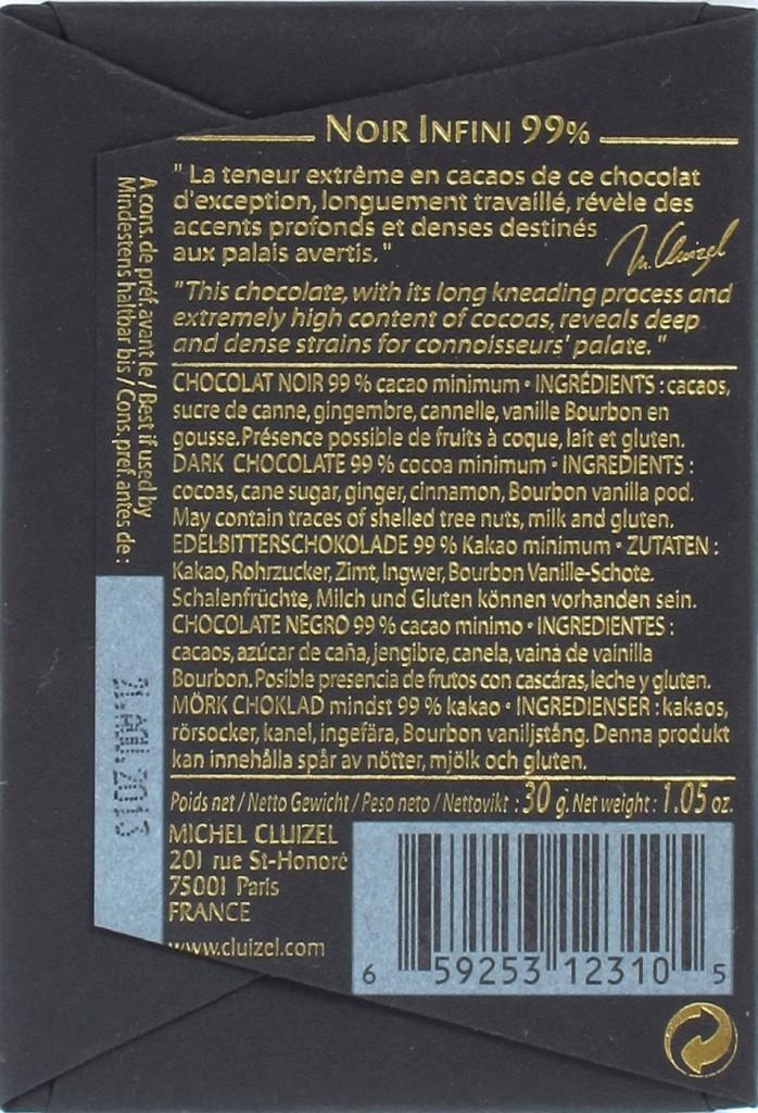 Rückseite, Michel Cluizel 100%ige Schokolade Noir Infini