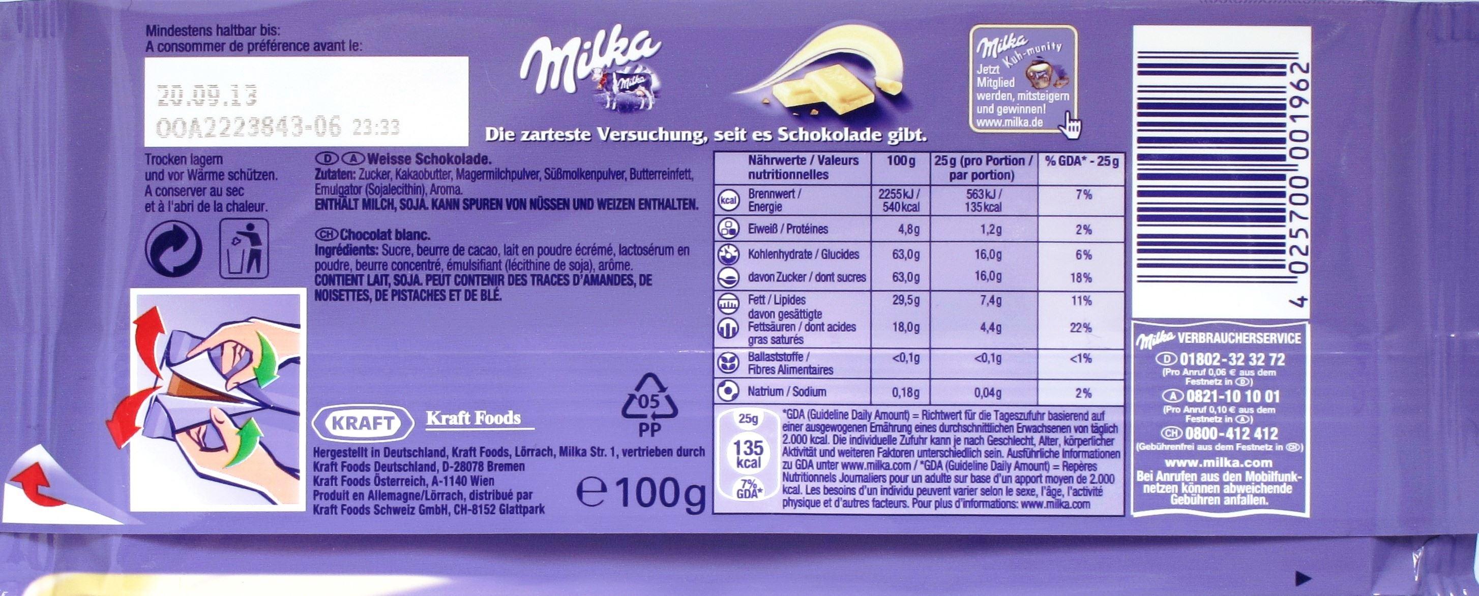 Milka / Weiße / Rückseite