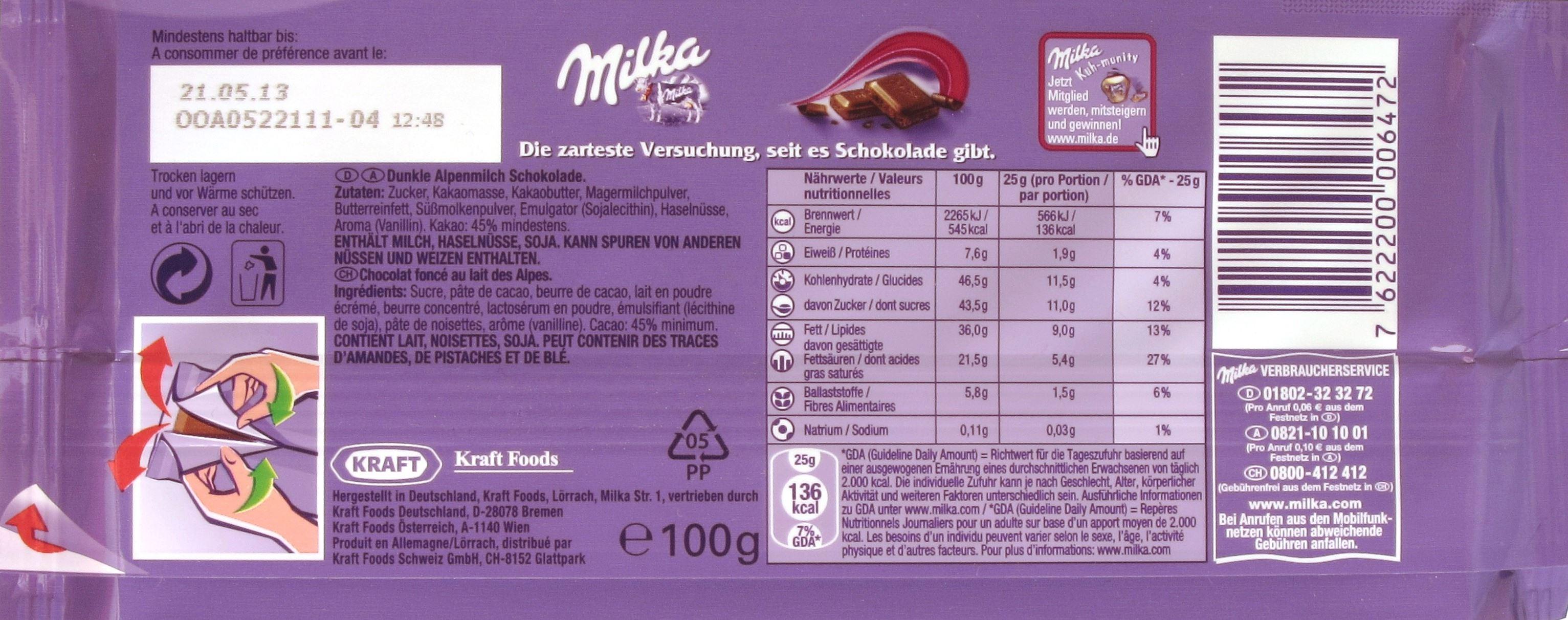 Milka Dunkle Alpenmilchschokolade (45%) - Packungsrückseite
