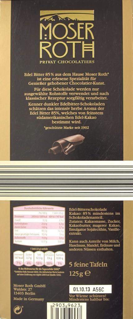 Aldi, Moser Roth, 85%, 125g Tafelrückseite