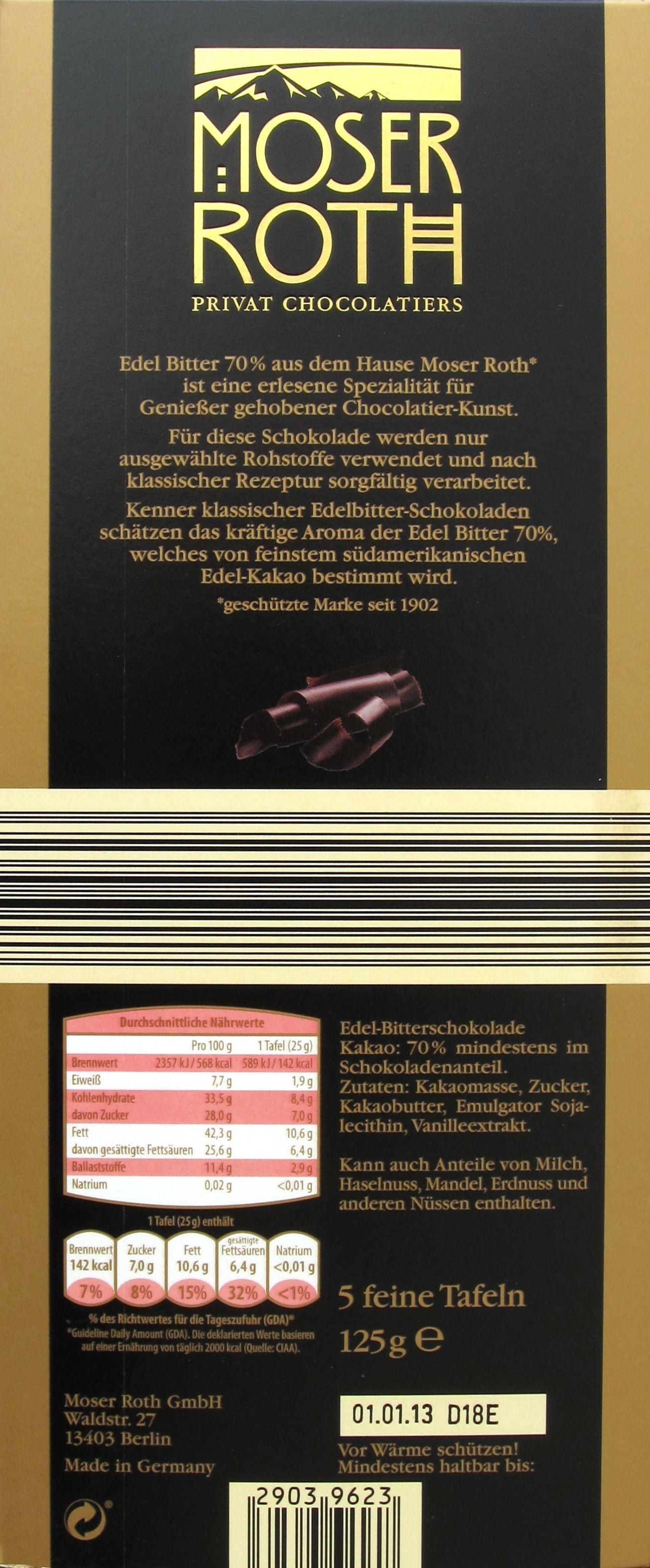Dunkle Schokolade von Aldi: Moser Roth Edelbitter: Packungsrückseite