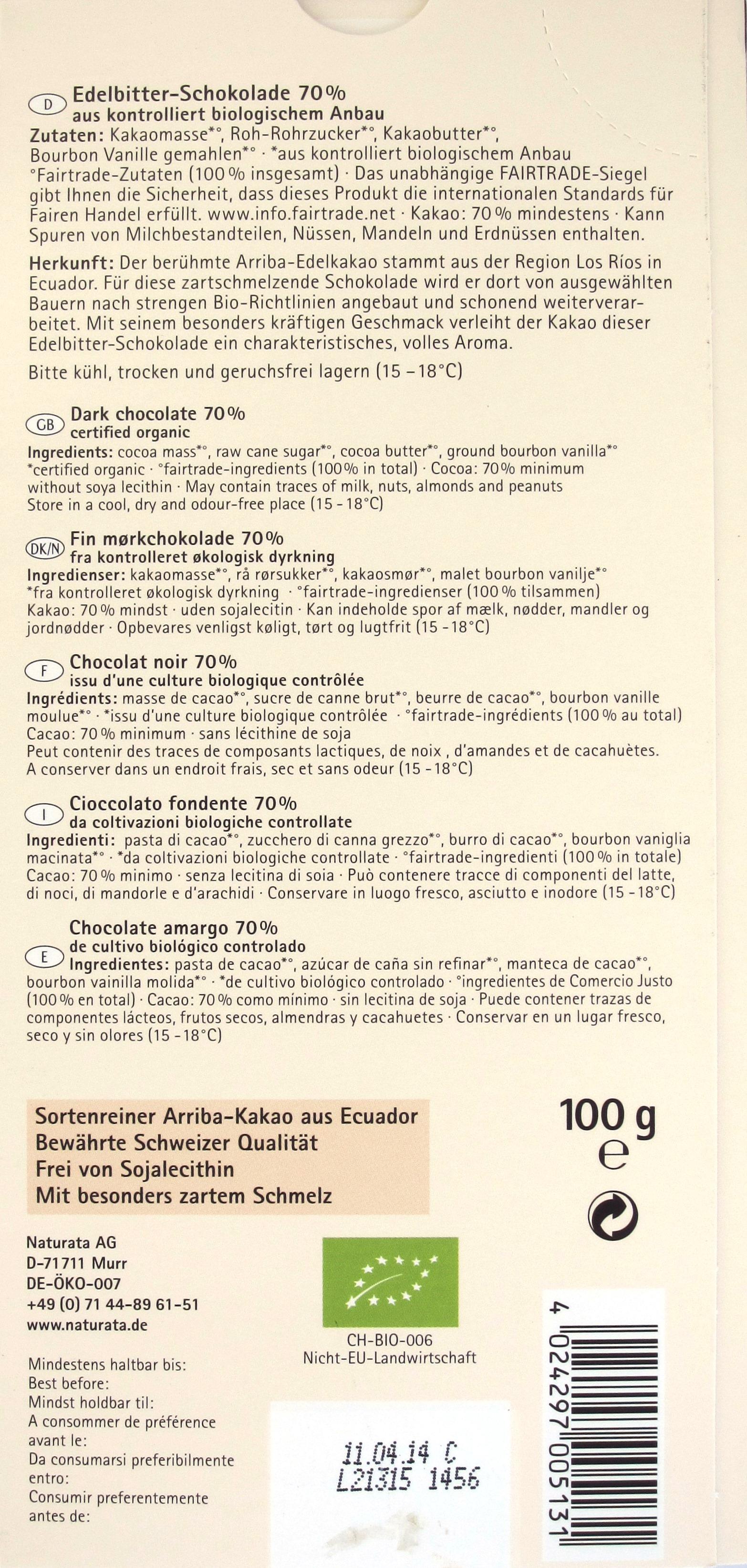 Naturata Ecador Edelbitter 70% Schokolade, Rückseite