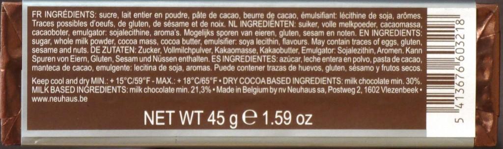 Neuhaus Milchschokolade - Inhalt