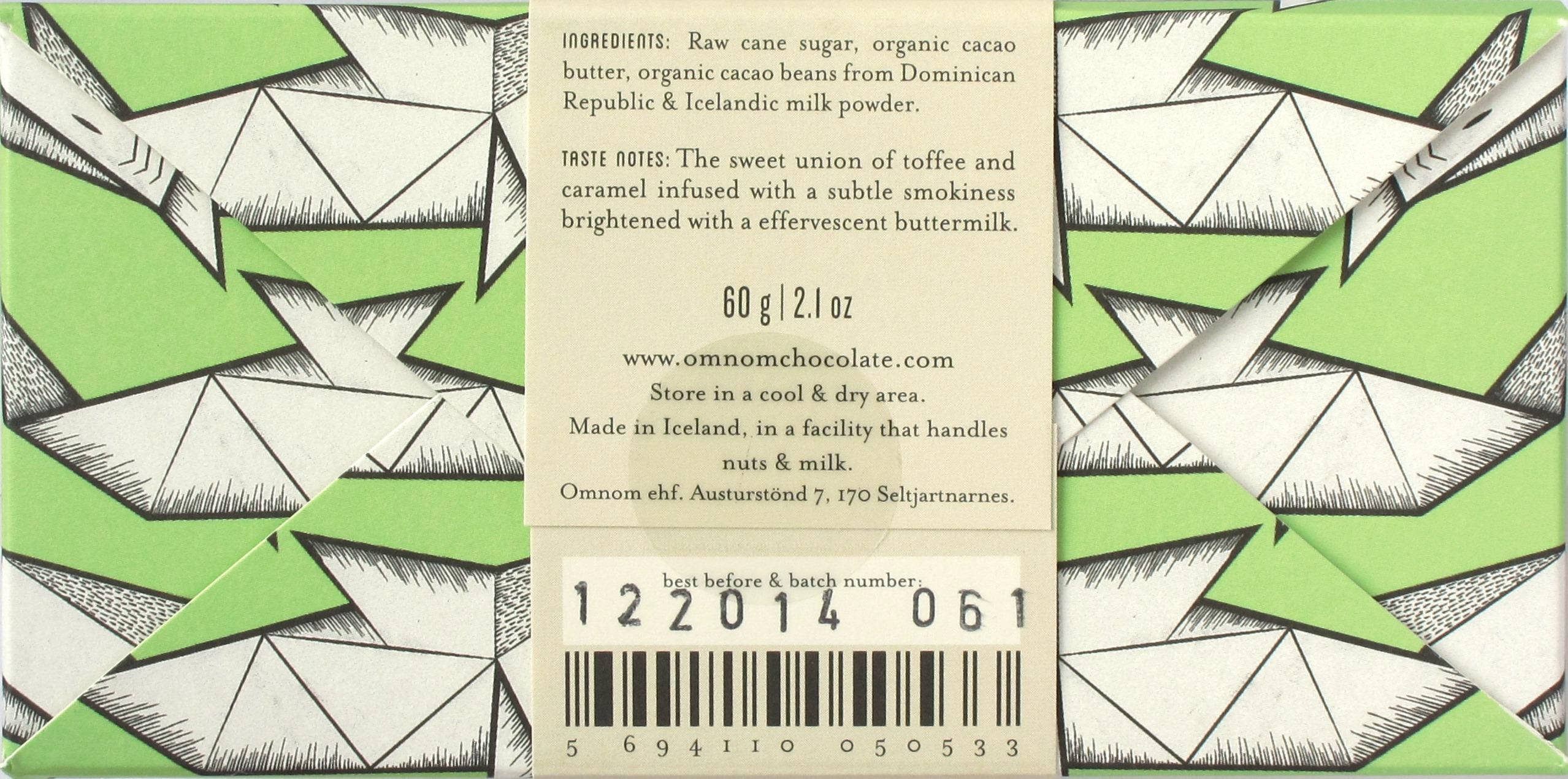 Omnom isländische Milchschokolade (55%), Rückseite