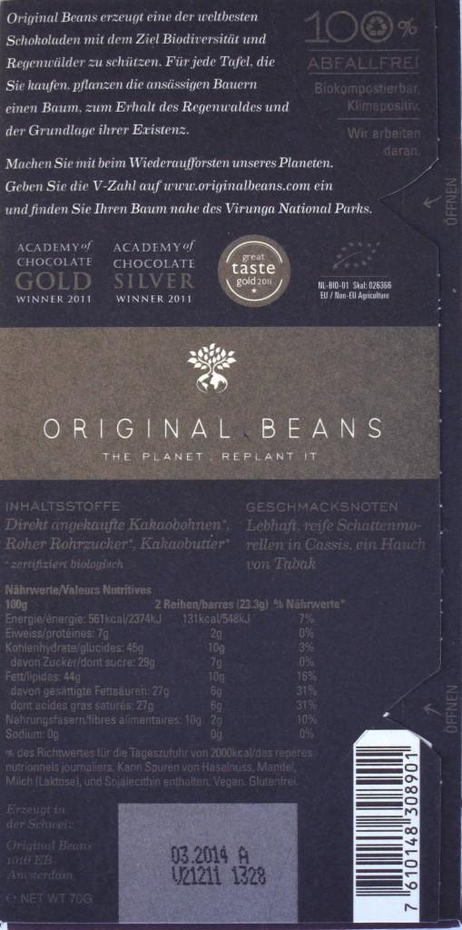Original Beans, Cru Virunga, Bitterschokolade 70%, Rückseite
