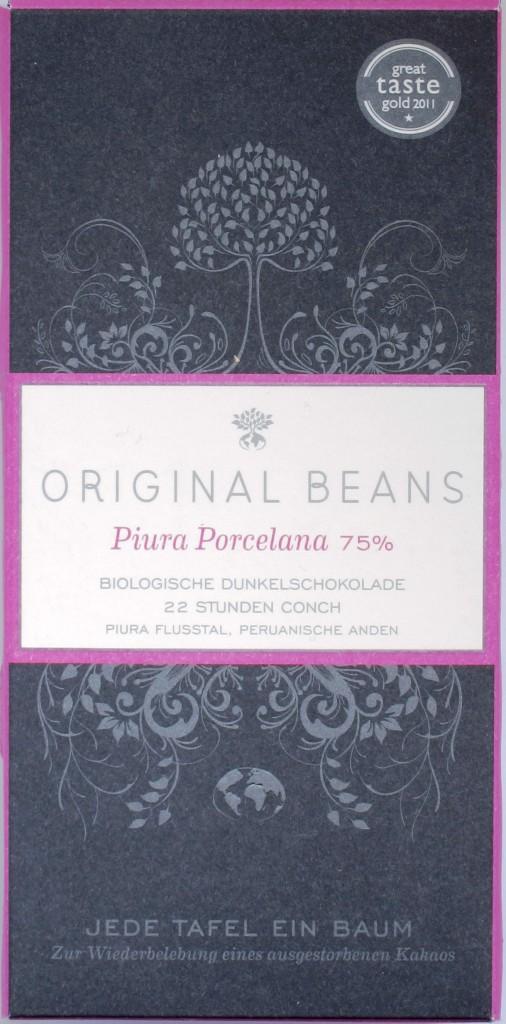 Packung Original Beans 75%-Porcelana-Schokolade aus Peru