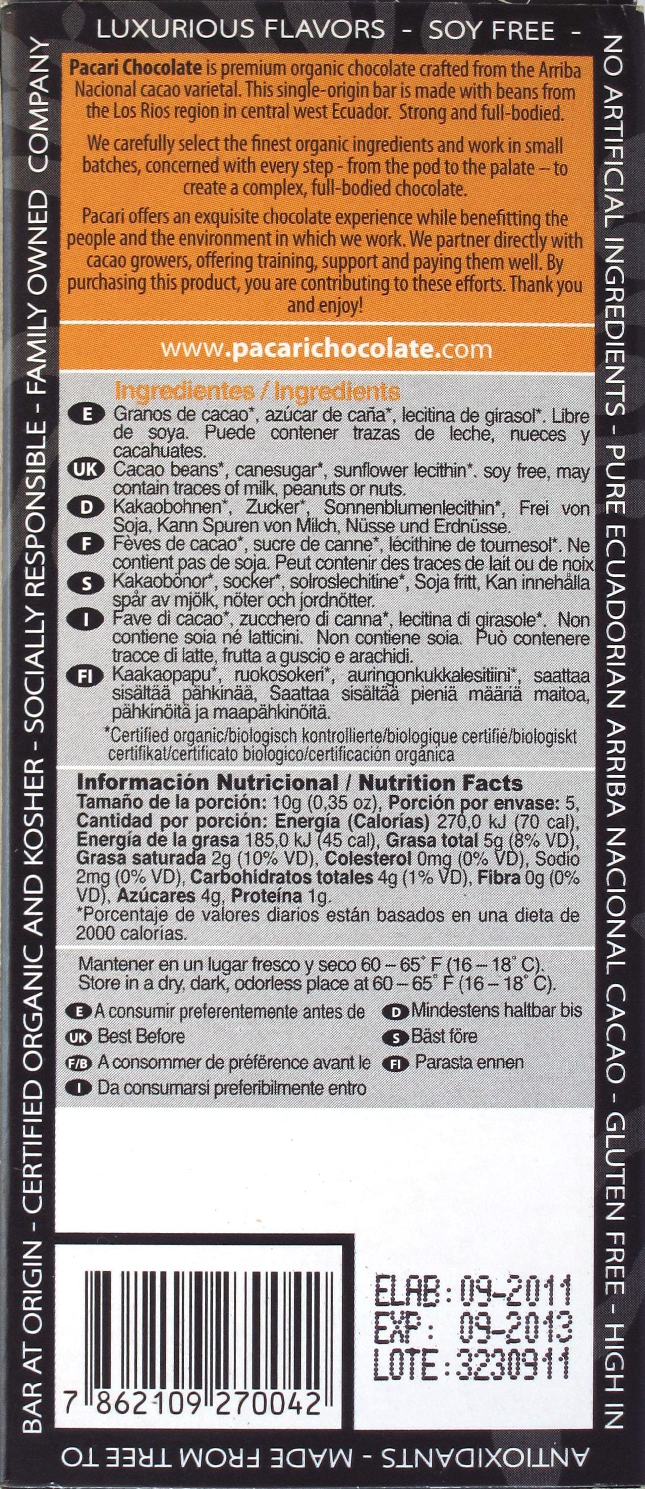 Pacari-Arriba-Schokolade Los Rios 72%: Rückseite
