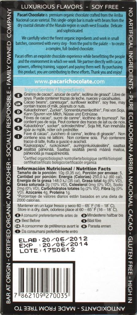 Pacari-Bitterschokolade Manabi, 65%, Rückseite